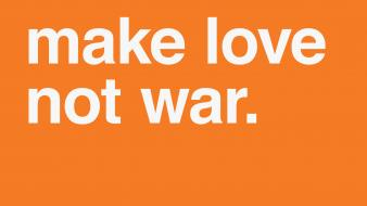 Love war minimalistic text orange background wallpaper