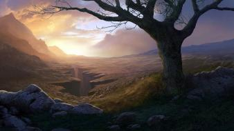 Mountains trees artwork andreas rocha master piece wallpaper