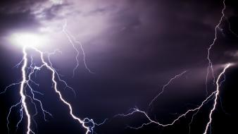 Nature purple lightning bolts two wallpaper