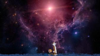 Nebulae calvin and hobbes artwork space art wallpaper
