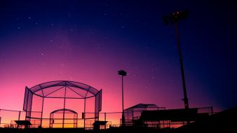 Night stars silhouette buildings hdr photography baseball field Wallpaper