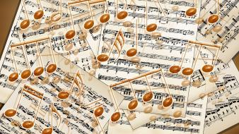 Painted sheet music musical notes wallpaper