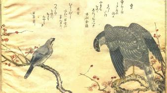 Paintings birds japanese artwork falcon bird kitagawa utamaro wallpaper