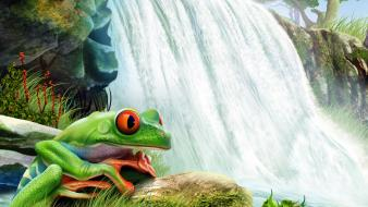 Paintings multicolor plants frogs waterfalls amphibians tree wallpaper