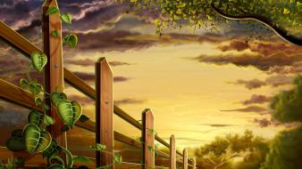 Paintings multicolor plants wood fence wallpaper
