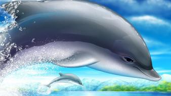 Paintings ocean multicolor animals dolphins Wallpaper
