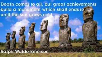 Quotes statues easter island moai ralph waldo emerson Wallpaper
