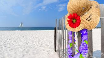 Sand fences straw hat hats red flowers wallpaper