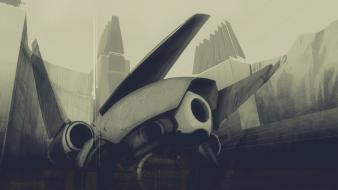 Spaceships science fiction artwork drawings wallpaper