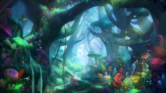 Video games forest digital art concept characters wallpaper