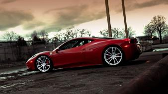 Water black streets red cars ferrari parking vehicles wallpaper