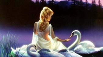 Women swans fantasy art artwork wallpaper