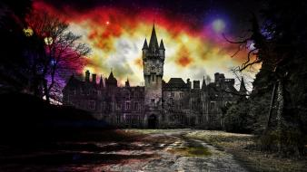 Blurred castles dark magic magical wallpaper