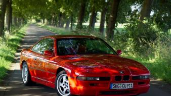 Bmw 8 series cars red trees Wallpaper