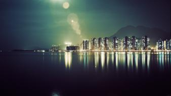 City lights cityscapes infrared photography night view reflections wallpaper