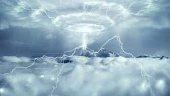 Clouds lightning bolts science fiction Wallpaper