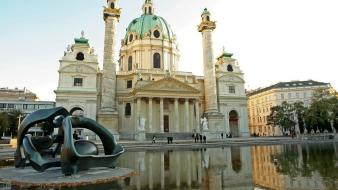 European architecture buildings ponds sculptures wallpaper