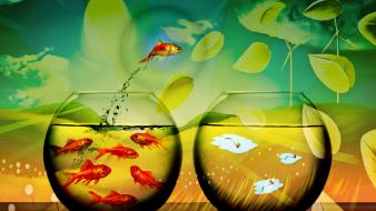 Fantasy art fish bowls wallpaper