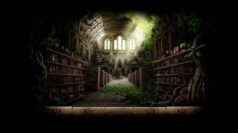 Fantasy art library wallpaper