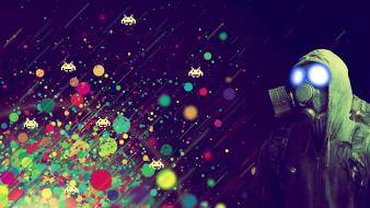 Games gaming gas masks light outer space wallpaper