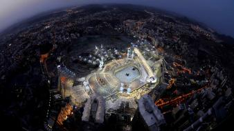 Islam kaabah makkah aerial view cities wallpaper