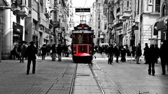 Istanbul istiklal street turkish cityscapes monochrome wallpaper