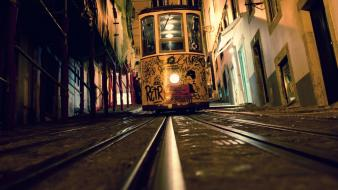 Lisbon elevators railroad tracks tram Wallpaper