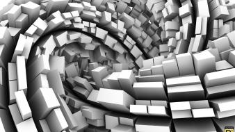 Abstract cubes digital art grayscale monochrome wallpaper