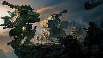 Artwork digital art futuristic military robots wallpaper