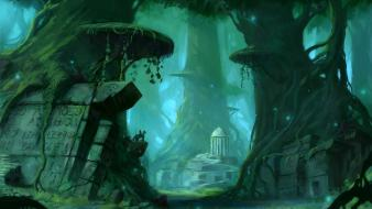 Artwork fantasy art forests ruins wallpaper