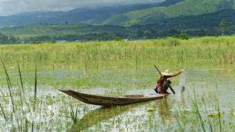 Asia asians myanmar countryside fishermen wallpaper