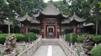 Asian architecture outdoors temples trees wallpaper