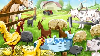 Chickens children cows farming farms wallpaper