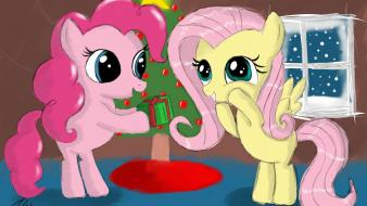Christmas fluttershy my little pony pinkie pie presents wallpaper