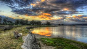 Hdr photography bench nature wallpaper