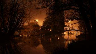 Japanese gardens wrocław dark landscapes night wallpaper