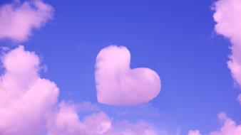 Pink heart abstract clouds hearts skyscapes Wallpaper