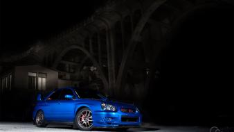 Subaru impreza wrx sti blue cars bridges wallpaper