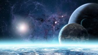 Abstract digital art outer space planets wallpaper
