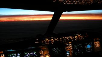 Airbus aircraft cockpit illuminated sunset wallpaper