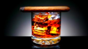 Alcohol cigars drinks ice cubes wallpaper