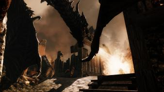 Alduin the worldeater elder scrolls v skyrim dragons wallpaper