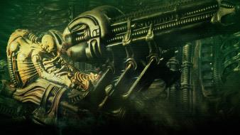 Alien hr giger space jockey futuristic science fiction wallpaper