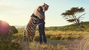 Animals fields hugging love nature wallpaper