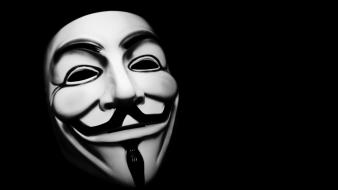 Anonymous v for vendetta black background hackers masks wallpaper