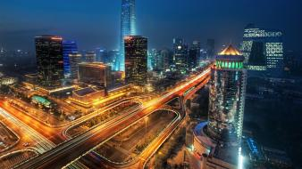 Beijing china cityscapes long exposure night Wallpaper