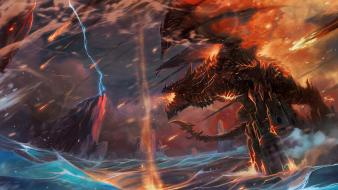 Cataclysm deathwing fan art video games wings wallpaper