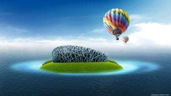 Digital art hot air balloons islands sea wallpaper