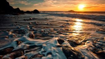 Foam long exposure rocks sea sunset wallpaper