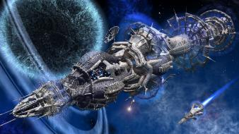 Futuristic outer space planets science fiction spaceships wallpaper